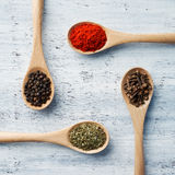 Herbs and Spices on Wooden Spoons Royalty Free Stock Image