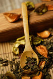 Herbs and spoon stock photo