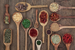 Herbs in Spoons Royalty Free Stock Photo