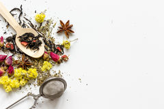 Herbs in spoons on white background top view mock up Stock Photos