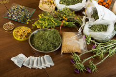 Herbs at table Royalty Free Stock Image
