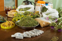 Herbs at table in home Royalty Free Stock Image
