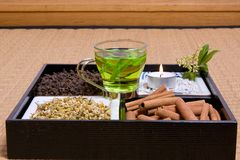 Herbs on tatami Stock Photography
