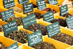 Herbs and tea at counter Stock Photo