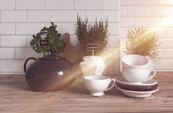 Herbs, Teapot, Cups and Saucers in Modern Kitchen. Trio of Herbs Growing Variety of Containers on Modern Wooden Kitchen Counter with Tea Pot, Cups and Saucers in Vector Illustration