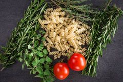 Herbs Tomatoes Pasta Royalty Free Stock Image