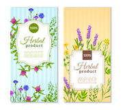 Herbs And Wild Flowers Banners. Herbal products vertical flat banners in tender pastel colors with herbs and wild flowers isolated vector illustration Royalty Free Illustration