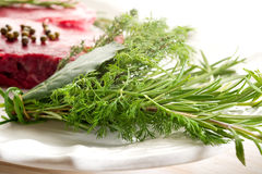 Herbs With Tenderloin Stock Photography
