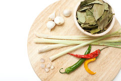 Herbs on wooden cutting board Royalty Free Stock Image