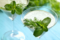 Herbs and yogurt smothie Royalty Free Stock Photography