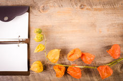 Herbst ackground Kapstachelbeere auf Holztisch mit Notizbuch Stockbilder