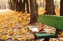 Herbst: altes Buch auf der Bank Lizenzfreie Stockbilder