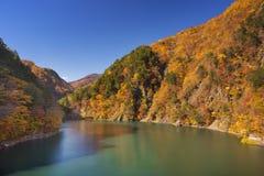 Herbst bei Azusa Lake in den japanischen Alpen Lizenzfreie Stockfotos