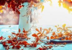 Herbst blüht Bündel und Vase auf blauer Tabelle mit Sonnenschein Gemütliche Hauptinnenausstattung Des Falles Leben noch stockbild