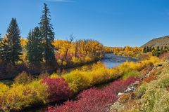 Herbst entlang Kebler Durchlauf Stockfotos