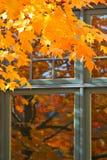 Herbst-Farbe durch das Fenster Lizenzfreies Stockfoto