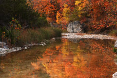 Herbst-Fluss-Reflexionen Stockfotos