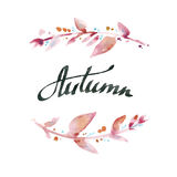 Herbst Handgeschriebene Tintenkalligraphie Handbeschriftung mit waterco Stockfotos