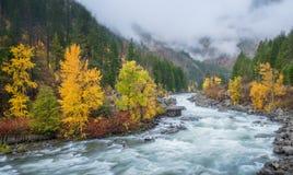 Herbst HDR mit Nebel über Berg in Leavenworth Lizenzfreies Stockfoto