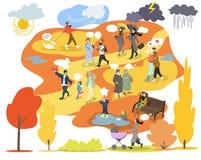 Herbst im Park, gehende Leute, Vektorillustrationssatz, Herbstwetter, Lebensstil, Jahreszeit, Freizeit lizenzfreie abbildung