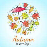 Herbst ist kommende Illustration Lizenzfreies Stockbild