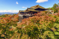 Herbst in Kiyomizu-Tempel, Kyoto, Japan Lizenzfreie Stockfotos
