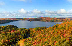 Herbst-Landschaftspanorama mit einem Wald und einem See Stockfotografie