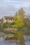 Herbst am Mincio. House in Borghetto near river Mincio Royalty Free Stock Photo