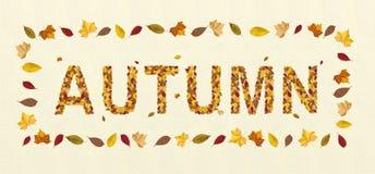 Herbst mit bunten Buchstaben und fallenden Blättern Lizenzfreies Stockbild