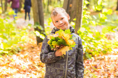 Herbst-, Natur- und Leutekonzept - jugendlich haltener Blumenstrauß des hübschen Jungen vom Herbstlaub und vom Lächeln lizenzfreie stockfotografie