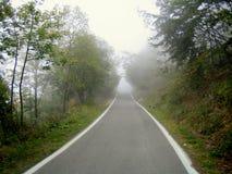 Herbst in Norditalien, nebelige Straße Lizenzfreie Stockfotos