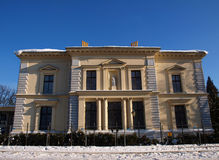Herbst palace form Lodz. Neo-Renaissance palace form Lodz in snow stock photo