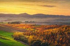 Herbst, Panorama in Toskana, Rolling Hills, Holz und Felder an Stockbild