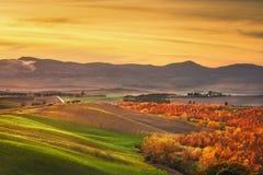Herbst, Panorama in Toskana, Rolling Hills, Holz und Felder an Lizenzfreies Stockfoto