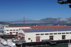 Herbst Pavilion,Golden Gate Bridge and Fog. San Francisco, California stock photo