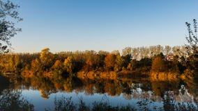 Herbst am Rand des Teichs stockfoto
