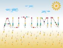 Herbst. Saisonhintergrund mit farbigen Bleistiften Stockbilder