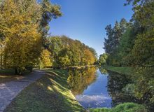 Herbst in Sofiyivka-Park in Uman, Ukraine stockfotografie