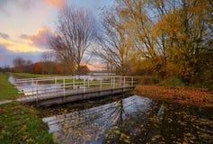 Herbst-Sonnenuntergang Stockfotos