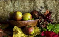 Herbst-Stillleben mit Äpfeln Stockbild