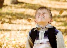 Herbst-Tätigkeits-Kind, das in den Blättern spielt Stockfotos