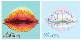 Herbst und Winter Getrennt auf weißem Hintergrund Stockfotografie