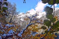 Herbst und Winter zusammen in Allgäu-Bergen Stockbild