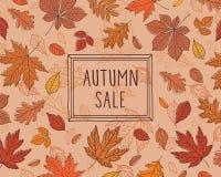 Herbst VERKAUF Förderndes Plakat mit Herbstlaub Fall der Blätter Stockfotos
