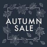 Herbst VERKAUF Herbstlaub wird mit Kreide auf der schwarzen Tafel gezeichnet Stockfoto