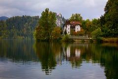 Herbst viewo eines Seeuferlandsitzes, in geblutet, Slowenien stockfoto