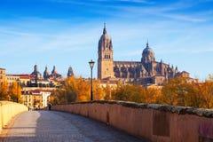 Herbstansicht von Salamanca mit Brücke und Kathedrale lizenzfreie stockfotos