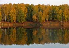 Herbstansicht von See und von Wald stockbilder