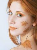 Herbstart Gesichtkunst Stockbild