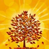 Herbstbaum auf einem goldenen Hintergrund Lizenzfreies Stockfoto